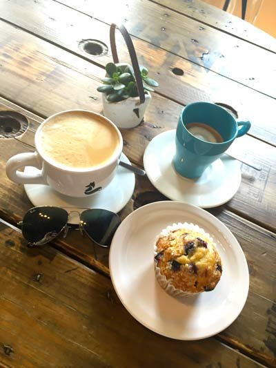 the clever cup coffee and muffin